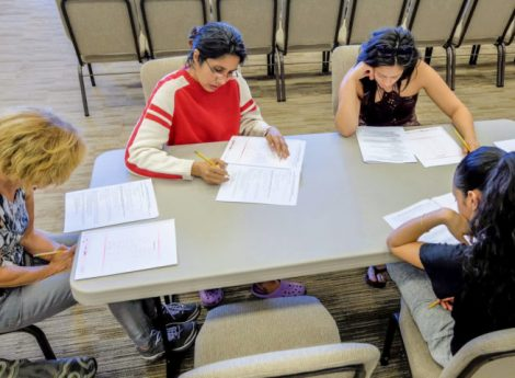 Study for victory—Participants take the SGI-USA Introductory Exam, Los Angeles. Photo: Gerry Hall